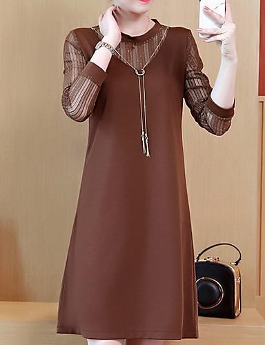 levne Šaty velkých velikostí-Dámské Základní Shift Šaty - Jednobarevné, Krajka Nad kolena