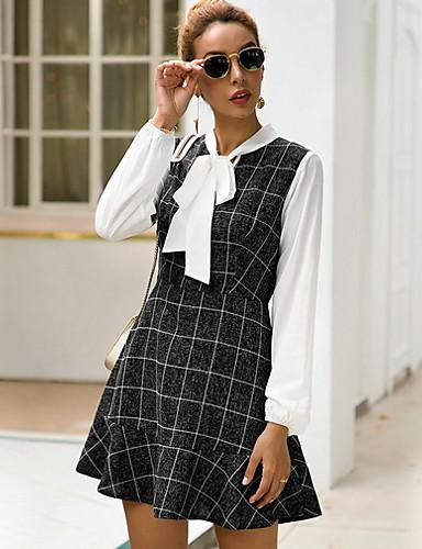 levne Pracovní šaty-Dámské Základní A Line Šaty - Pléd Nad kolena