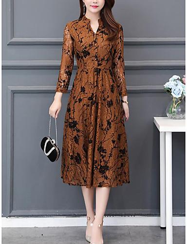 levne Šaty velkých velikostí-Dámské Šik ven Elegantní A Line Šaty - Květinový, Plisé Midi