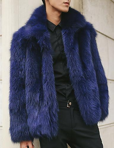 levne Pánská saka a kabáty-Pánské Denní Podzim zima Dlouhé Faux Fur Coat, Jednobarevné Přehnutý Dlouhý rukáv Umělá kožešina Námořnická modř