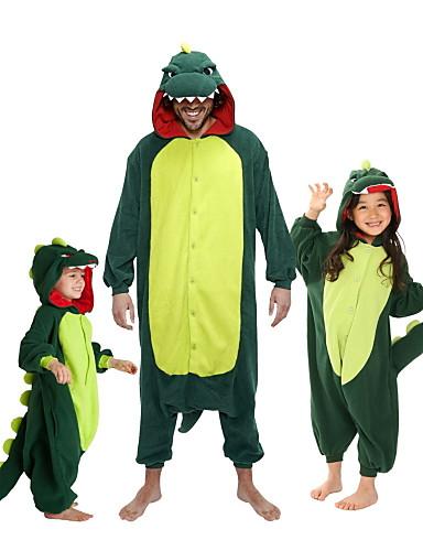 preiswerte Sale-Kinder Kigurumi-Pyjamas Dinosaurier Tier Pyjamas-Einteiler Flanell Vlies Grün / Rot Cosplay Für Jungen und Mädchen Tiernachtwäsche Karikatur Fest / Feiertage Kostüme