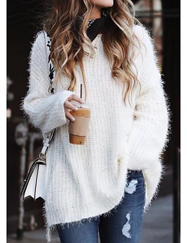 preiswerte Damen Oberteile-Damen Solide Langarm Übergrössen Lose Pullover Pullover Jumper, V-Ausschnitt Weiß / Rosa / Blau S / M / L