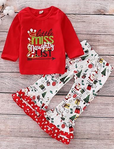 preiswerte Kindermode-Baby Mädchen Grundlegend Blumen / Weihnachten Langarm Standard Baumwolle Kleidungs Set Rote