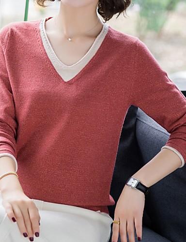 billige Dametopper-Dame Ensfarget Langermet Pullover Genserjumper, V-hals Svart / Gul / Blå M / L / XL