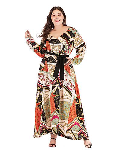 voordelige Grote maten jurken-Dames Standaard Wijd uitlopend Jurk - Geometrisch Midi