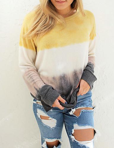 billige Dametopper-T-skjorte Dame - Ensfarget, Trykt mønster Grunnleggende Gul
