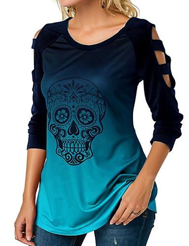 billige Dametopper-T-skjorte Dame - Geometrisk / Hodeskaller, Utskjæring / Trykt mønster Gatemote / Punk & Gotisk Lyseblå