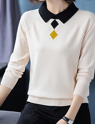 billige Dametopper-Dame Ensfarget Langermet Pullover Genserjumper, Skjortekrage Svart / Hvit / Gul M / L / XL