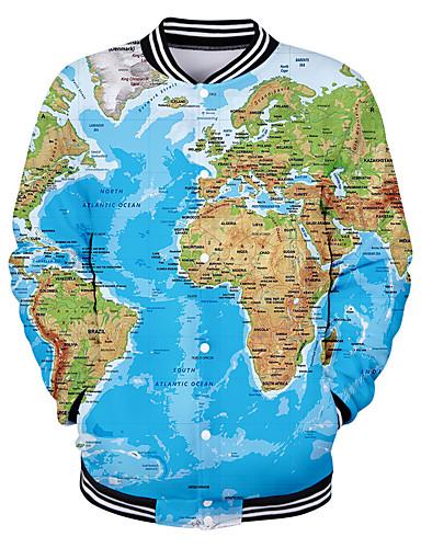 preiswerte Herrenjacken in Übergröße-Herrn Alltag Grundlegend Frühling / Herbst Winter Standard Jacke, Geometrisch Ständer Langarm Polyester Blau