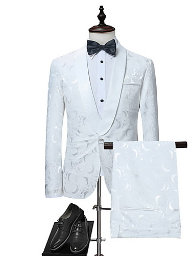 levne Pánské blejzry a saka-Pánské Obleky, Geometrický Klasické klopy Polyester Bílá