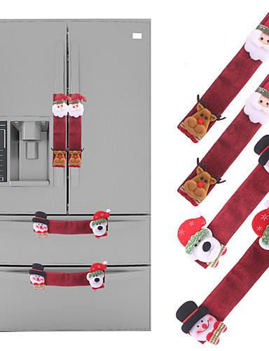 povoljno Božićni tekstil-4 kom Božićni hladnjak mikrovalna pećnica prekrivena vrata poklopca perilice posuđa rukavica hladnjak rukavice