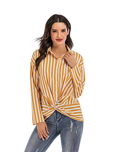 billige Topper til damer-Skjorte Dame - Stripet Gul