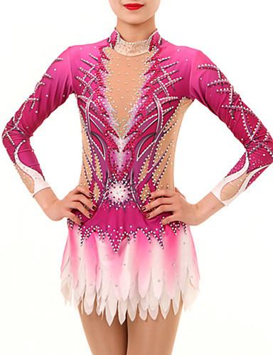 povoljno Vježbanje, fitness i joga-Triko za ritmičku gimnastiku Trikoi za ritmičku gimnastiku Žene Djevojčice Triko za vježbanje Blushing Pink Spandex Visoka elastičnost Ručno izrađen Jeweled Izgled dijamanta Dugih rukava Natjecanje