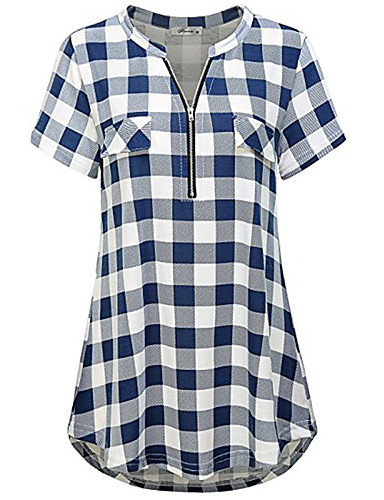 preiswerte Damen Oberteile-Damen Schachbrett - Grundlegend T-shirt Patchwork Blau & Weiß / Schwarz & Weiß Schwarz