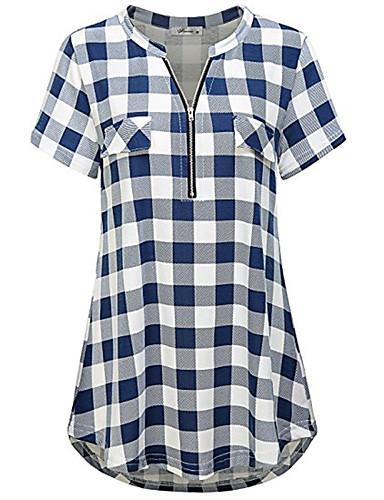 cheap Women's Tops-Women's Daily Basic T-shirt - Check Blue & White / Black & White, Patchwork Black