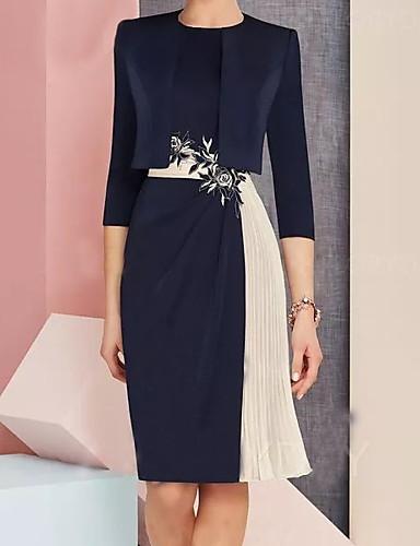 cheap New in Dresses-Women's Shift Dress - Color Block Navy Blue M L XL XXL