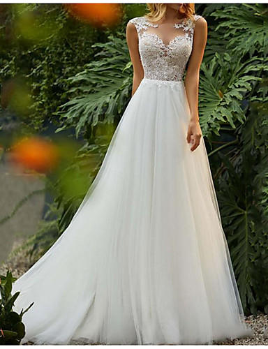 cheap Boho Wedding Dresses-A-Line Jewel Neck Sweep / Brush Train Tulle Regular Straps Romantic / Boho Backless Wedding Dresses with Lace Insert 2020
