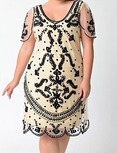 voordelige Grote maten jurken-Dames Schede Jurk - Geometrisch, Print Boven de knie