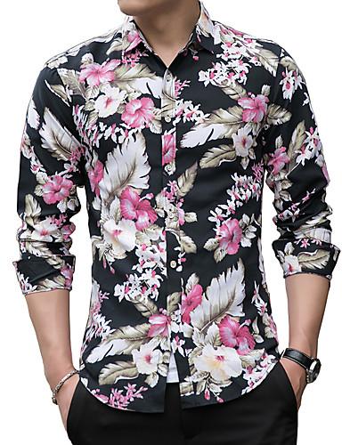voordelige Herenoverhemden-Heren Standaard Print Overhemd Bloemen Zwart