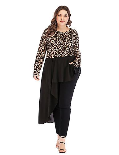 levne Šaty velkých velikostí-Dámské Základní Šifón Šaty - Leopard Asymetrické