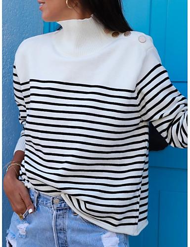 billige Dametopper-Dame Stripet Langermet Pullover Genserjumper, Rullekrage Hvit M / L / XL