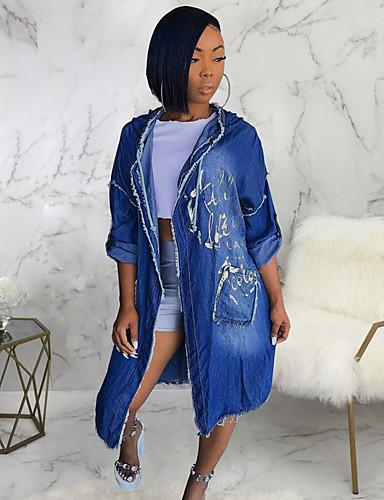 voordelige Damesjassen & trenchcoats-Dames Dagelijks Herfst winter Lang Trenchcoat, Geometrisch Zonder Kraag Lange mouw Polyester blauw