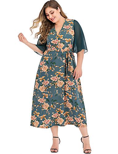 levne Maxi šaty-Dámské Elegantní Pouzdro Šaty - Květinový, Patchwork Tisk Maxi