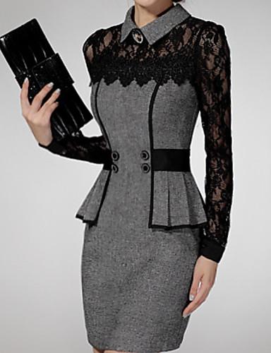 levne Pracovní šaty-Dámské Elegantní Pouzdro Šaty - Geometrický Barevné bloky Nad kolena