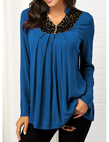 billige Dametopper-Skjorte Dame - Geometrisk Grunnleggende Svart