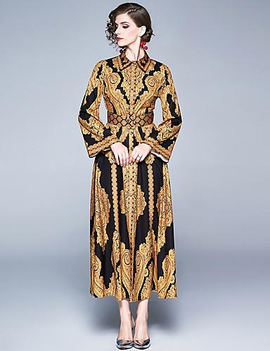 voordelige Maxi-jurken-Dames Vintage Elegant Overhemd Jurk - Ruitjes, Split Print Maxi