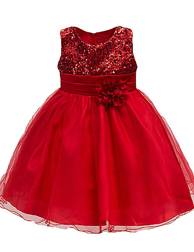 cheap Flower Girl Dresses-Kids Toddler Girls' Active Cute Rose Floral Solid Colored Lace Sequins Layered Sleeveless Knee-length Dress Purple