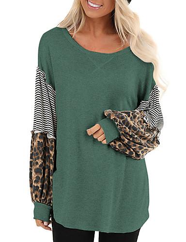 billige Dametopper-T-skjorte Dame - Stripet / Leopard Tropisk blad Svart