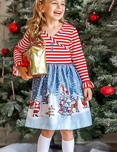 Gyerekek Lány Alap Csíkos Karácsony Hosszú ujj Térdig érő Ruha Rubin