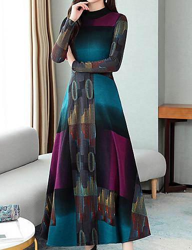 levne Maxi šaty-Dámské Základní A Line Šaty - Barevné bloky Midi