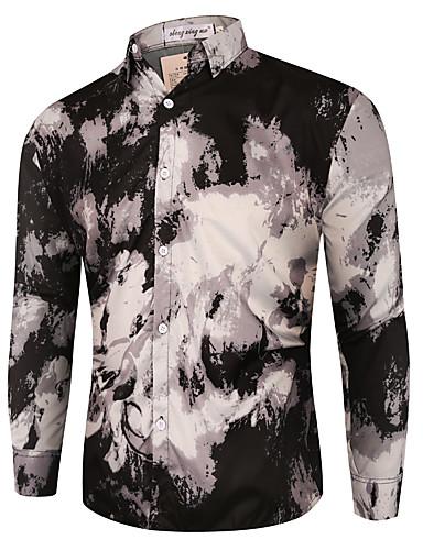 levne Pánské košile-Pánské - Geometrický Šik ven Košile Černá