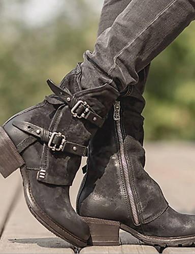 preiswerte Elegante Absatzschuhe & Stiefel-Damen Stiefel Komfort Schuhe Niedriger Heel Runde Zehe PU Booties / Stiefeletten Winter Schwarz / Dunkelbraun
