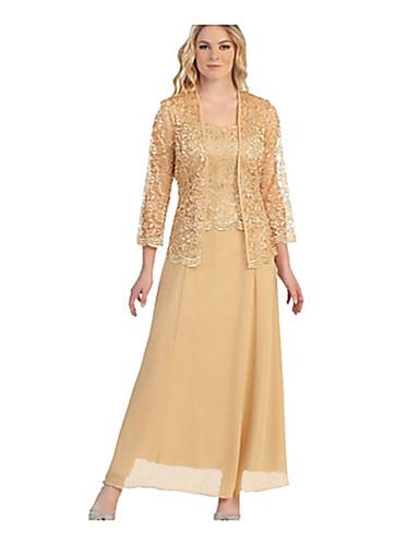 levne Maxi šaty-Dámské Větší velikosti Dvoudílné Šaty - Jednobarevné Maxi Úzký výstřih
