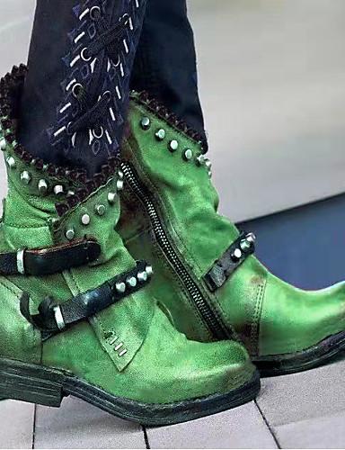billige Shoes & Bags Must-have-Dame Støvler Komfort Sko Blokker hælen Rund Tå PU Støvletter Høst vinter Svart / Lilla / Grønn
