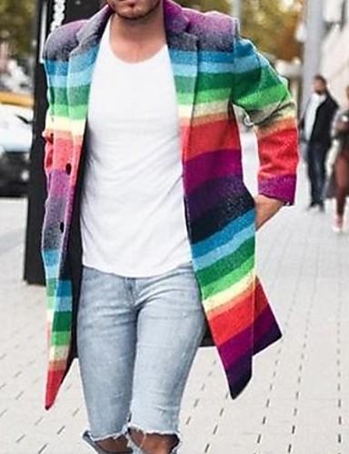 voordelige Herenmode-Heren Dagelijks Winter Normaal Jas, Kleurenblok Opstaand Lange mouw Polyester Regenboog