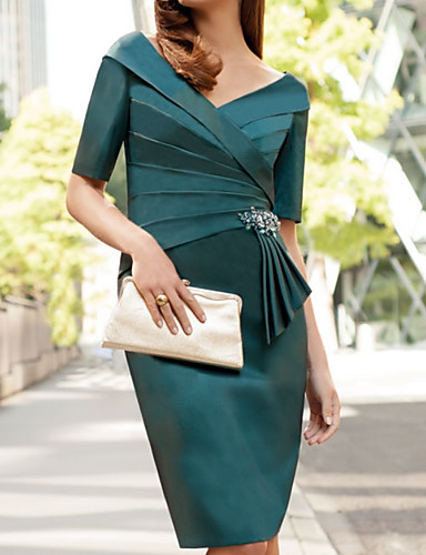 cheap Mother of the Bride Dresses-Sheath / Column V Neck Knee Length Satin Mother of the Bride Dress with Crystals / Ruching by LAN TING Express