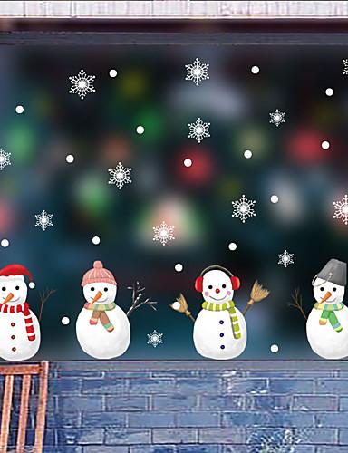 billige Veggklistremerker-jul søt snømann vindu film& ampampamp klistremerker dekorasjon dyr / mønstret ferie / karakter / geometrisk PVC-vindu (polyvinylklorid)