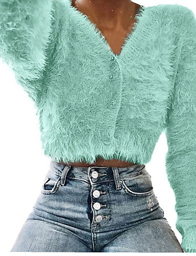 cheap Women's Sweaters-Women's Solid Colored Long Sleeve Slim Cardigan Sweater Jumper, V Wire Light Blue / Purple / Blushing Pink S / M / L