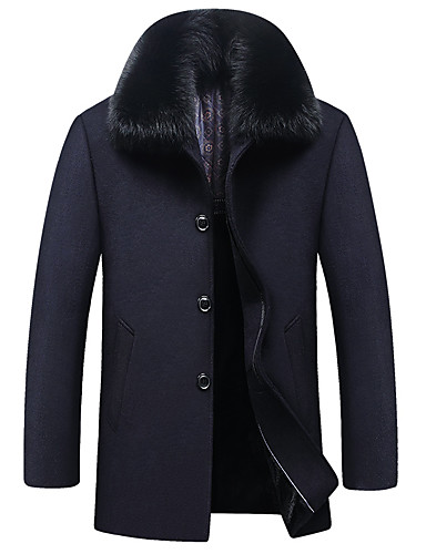 preiswerte Pelzbesatzmantel-Herrn Alltag Grundlegend Winter / Herbst Winter Standard Mantel, Solide Coiled Gola Langarm Wolle / Polyester Pelzkragen Schwarz / Marineblau / Grau