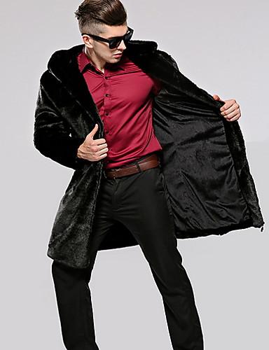 levne Vánoce-Pánské Denní Standardní Kožich, Jednobarevné Polostojatý límec Dlouhý rukáv Polyester Černá