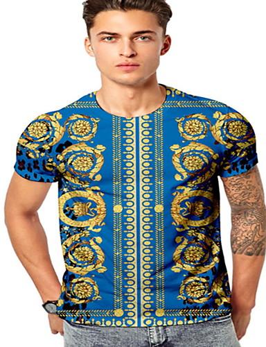 voordelige Heren T-shirts & tanktops-Heren T-shirt Geometrisch Marine Blauw