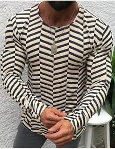 voordelige Heren T-shirts & tanktops-Heren T-shirt Gestreept Beige