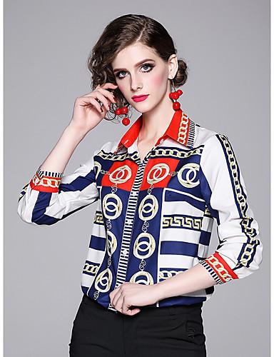 billige Skjorter til damer-Skjorte Dame - Geometrisk Hvit