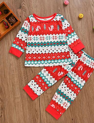 preiswerte Kindermode-Baby Mädchen Street Schick Geometrisch / Weihnachten Langarm Standard Kleidungs Set Rote