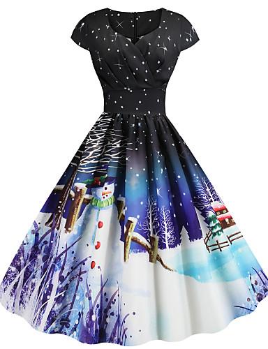 cheap New in Dresses-Women's Christmas Festival Basic Sheath Dress - Snowflake Snowman, Print Sweetheart Neckline Black Purple Blue S M L XL Belt Not Included