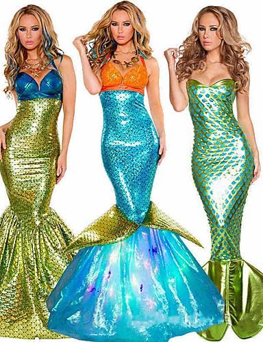 povoljno Movie & TV Theme Costumes-Rep Sirene Aqua Queen Aqua Princess Cosplay Nošnje Kostim za party Odrasli Žene Božić Halloween Karneval Festival / Praznik Terilen Zelen / Zlatan / Teal Žene Karneval kostime Vintage